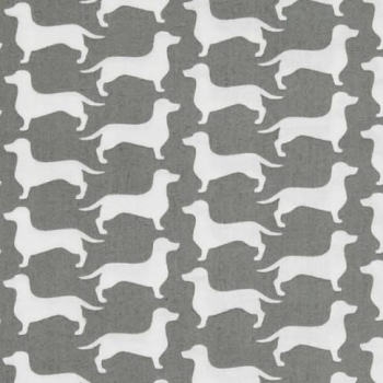 Dachshund Sausage Dog Dog Gone It Silhouette Wiener Dog Grey Gray Cotton Fabric