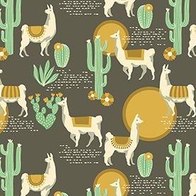 Lingering Llamas Tucso Cactus Llama Alpaca Geometric Cotton Fabric