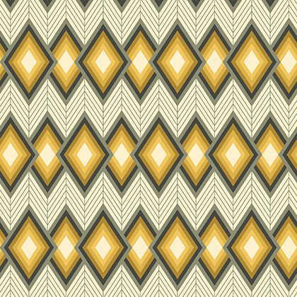 Tapestry Tucso Chevron Diamond Yellow Grey Grey Geometric Cotton Fabric