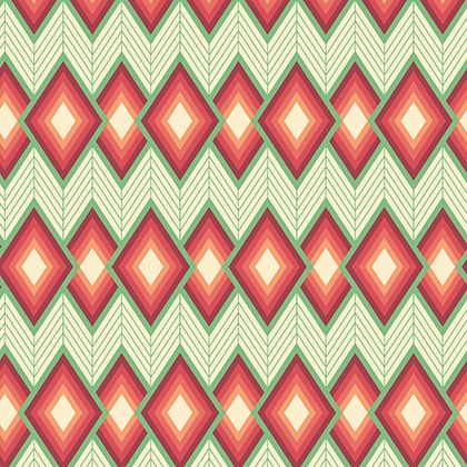 Tapestry Sedon Chevron Diamond Coral Mint Green Geometric Cotton Fabric