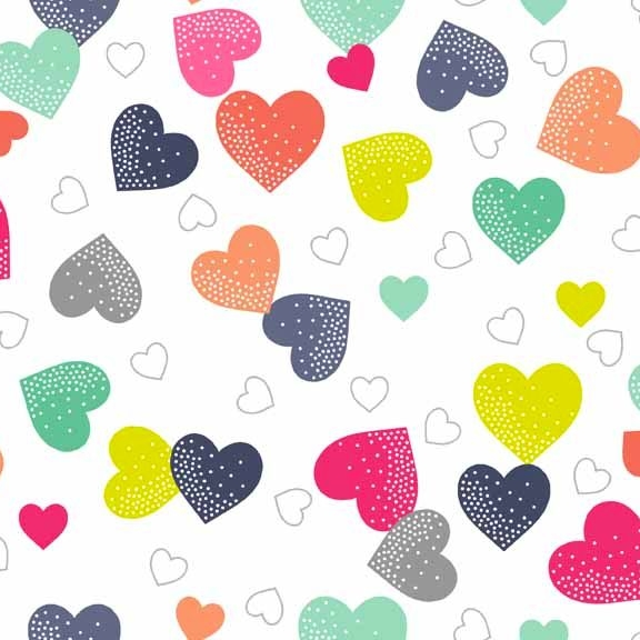 Fantasy Multi Coloured Hearts on White Unicorn Rainbow Colour Cotton Fabric