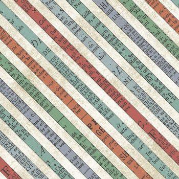 Bookshelf Botanicals Aqua Diagonal Bias Stripe Literary Cotton Fabric