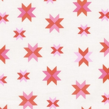 Daisy Chain Quilt Block Coral Pink Patchwork Star Cotton Fabric
