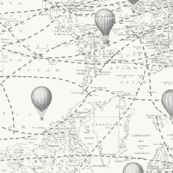 Adventure Awaits Hot Air Balloon Atlas Map World Travel Grey Cotton Fabric