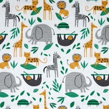 Wild About You Gone Wild Baby Jungle Animals on White Nursery Cotton Fabric