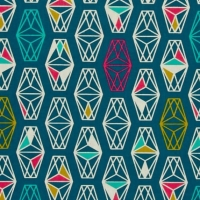 Lagoon Lively Lanterns Dark Teal Geometric Prism Cotton Fabric by Cotton + Steel