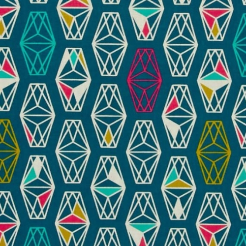 Lagoon Lively Lanterns Dark Teal Geometric Prism Cotton Fabric by Cotton +