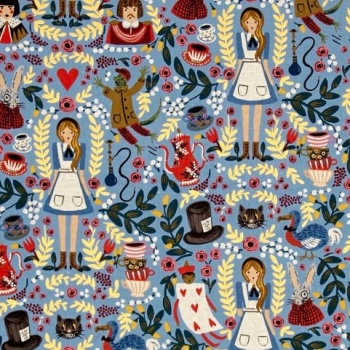 Cotton + Steel Rifle Paper Co. Wonderland Cotton Linen Canvas Fabric Alice in Wonderland on Light Blue with Metallic Gold