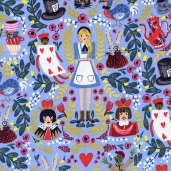 Cotton + Steel Rifle Paper Co. Wonderland Periwinkle Blue Alice in Wonderland Cotton Fabric with Metallic Gold