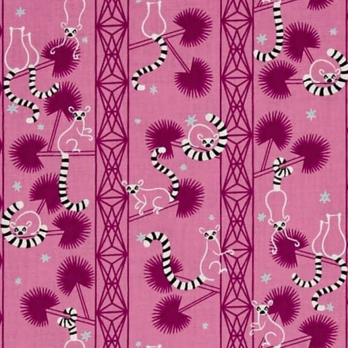 Lagoon Lemur Forest Orchid Geometric Tree Cotton Fabric by Cotton + Steel