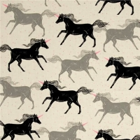Magic Forest Unicorns Noir Unicorn Neon Pink Cotton Fabric by Cotton + Steel