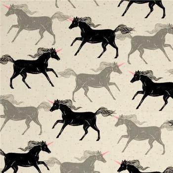 Magic Forest Unicorns Noir Unicorn Neon Pink Cotton Fabric by Cotton + Steel
