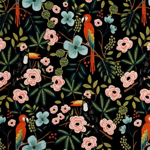 Cotton + Steel Rifle Paper Co. Parrot Toucan Menagerie Paradise Garden Midn