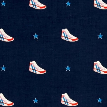 Cotton + Steel Little Kicks Navy Stars Sneakers Shoes High Top Trainers Cotton Fabric