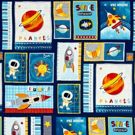 Space Adventure Patch Navy Planet Galaxy Rockets Solar System Stars Cotton