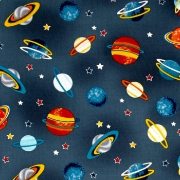Space Adventure Planets Gray Solar System Stars Grey Cotton Fabric