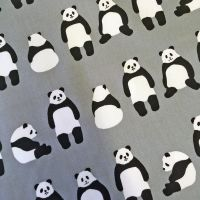 Panda Bear Grey Pandas Gray Sevenberry Japan Robert Kaufman Cotton Oxford Canvas Fabric