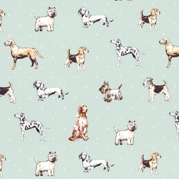 REMNANT Best of Show Duckegg Dog Breeds Dogs Upholstery Weight Cotton Fabric