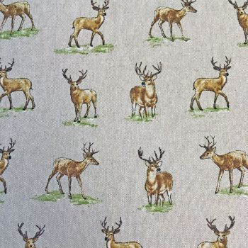 Chatham Glyn Stag Deer Woodland Upholstery Weight Cotton Fabric per half metre