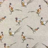 Chatham Glyn Mini Pheasants Countryside Pheasant Upholstery Weight Cotton Fabric per half metre