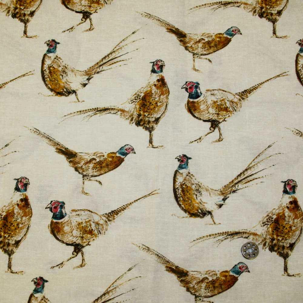 Chatham Glyn Pheasants Countryside Pheasant Upholstery Weight Cotton Fabric