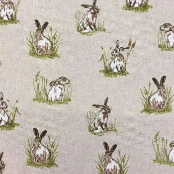 Chatham Glyn Mini Hares Countryside Hare Upholstery Weight Cotton Fabric per half metre