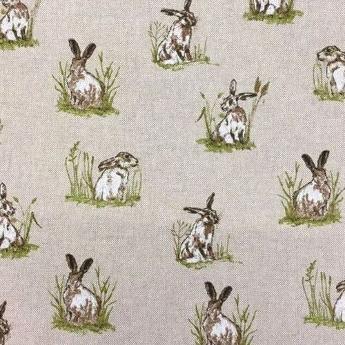 Chatham Glyn Mini Hares Countryside Hare Upholstery Weight Cotton Fabric pe