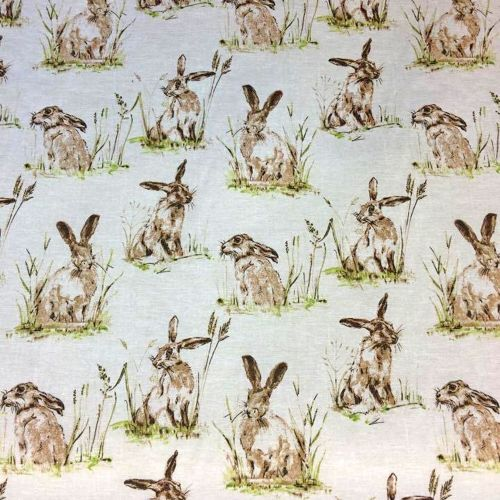 Chatham Glyn Hares Countryside Hare Upholstery Weight Cotton Fabric per hal
