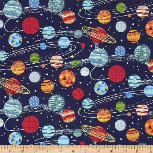REMNANT Galaxy Planets on Midnight Space Solar System Cotton Fabric