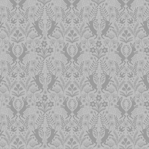 REMNANT Little Hares Dark Grey on Grey Floral Hare Silhouette Cotton Fabric