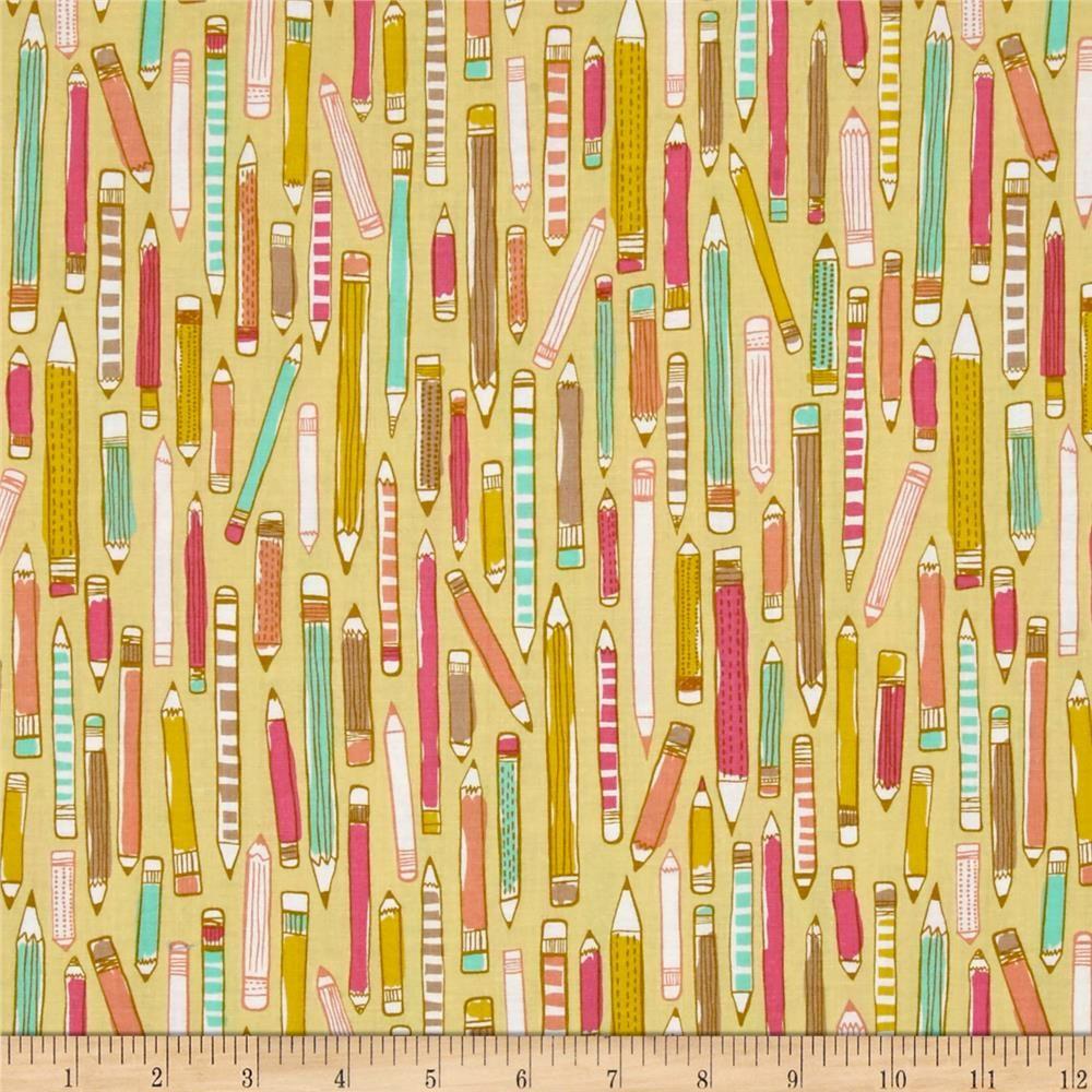 REMNANT Erin McMorris Doodle Pencil Mustard Yellow Pencils Cotton Fabric