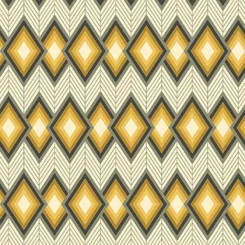 REMNANT Tapestry Tucso Chevron Diamond Yellow Grey Grey Geometric Cotton Fabric
