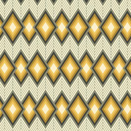 REMNANT Tapestry Tucso Chevron Diamond Yellow Grey Grey Geometric Cotton Fa