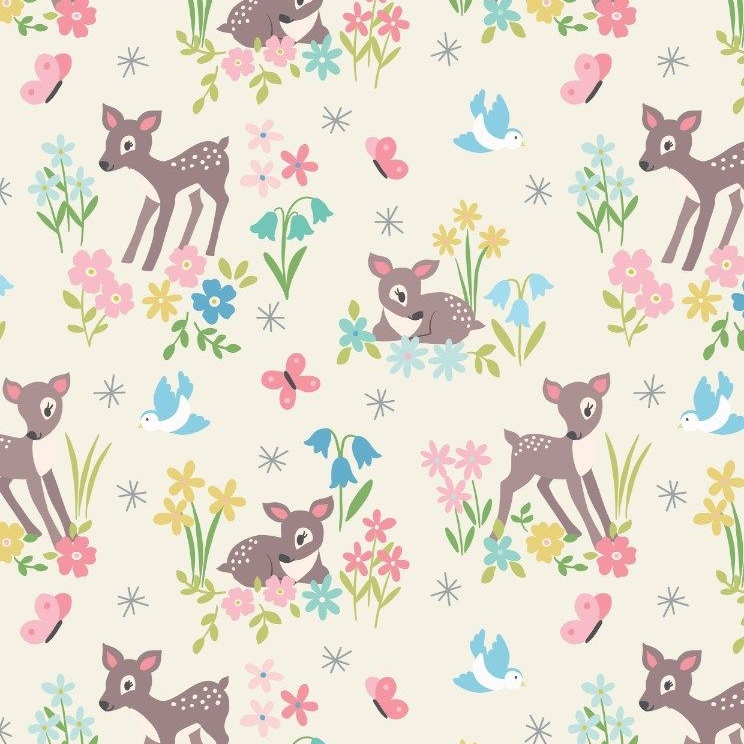 So Darling Little Deer on Cream Fawn Floral Forest Woodland Scene Animal Sc