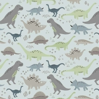 Dinosaurs Jurassic Dino Dinosaur Fossil Rim Main Blue Cotton Fabric