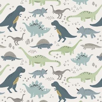 Dinosaurs Jurassic Dino Dinosaur Fossil Rim Main Cream Cotton Fabric