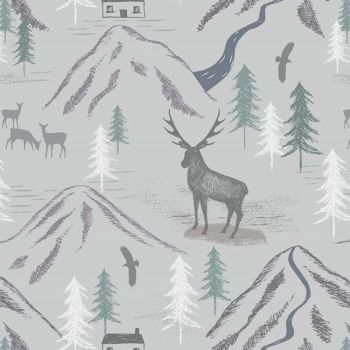 REMNANT Royal Stag on Light Grey Deer Woodland Highlands Mountain Cotton Fabric