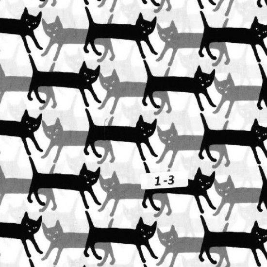 REMNANT Kaufman Sevenberry Mini Prints Cats Grey Monochrome Cat Silhouette
