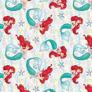 REMNANT Disney Princess Little Mermaid Dream Ariel Starfish Cotton Fabric
