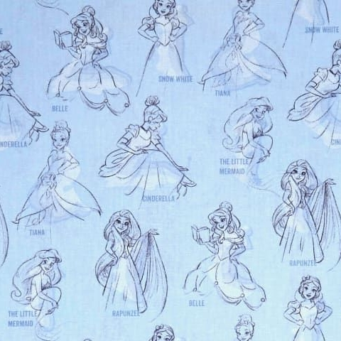 Disney Princess Fashion Allover Blue Sketch Character Film Cotton Fabric