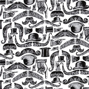 REMNANT Moustaches Top Hat Bowler Dapper Gent Monochrome Cotton Fabric