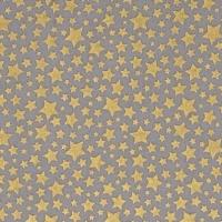 Cat's Cradle Stars Metallic Gold Star Starbrite Pewter Grey Cotton Fabric