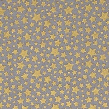 Cat's Cradle Stars Metallic Gold Star Starbrite Pewter Grey Cotton Fabric