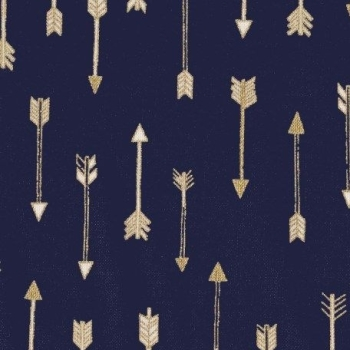 Mini Arrow Flight Midnite Catching Dreams Gold Metallic Arrows on Navy Blue Cotton Fabric