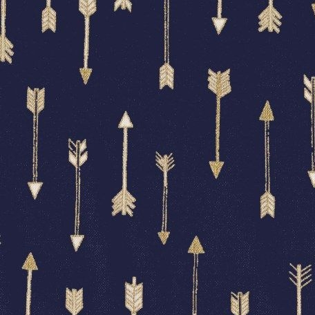 Mini Arrow Flight Midnite Catching Dreams Gold Metallic Arrows on Navy Blue