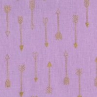 Mini Arrow Flight Opal Catching Dreams Gold Metallic Arrows on Lilac Pink Cotton Fabric