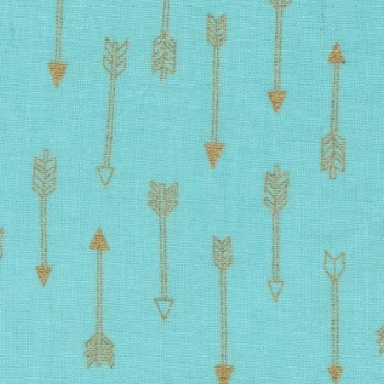 DESTASH 1.2m Mini Arrow Flight Mist Catching Dreams Gold Metallic Arrows on Aqua Mint Green Turquoise Cotton Fabric