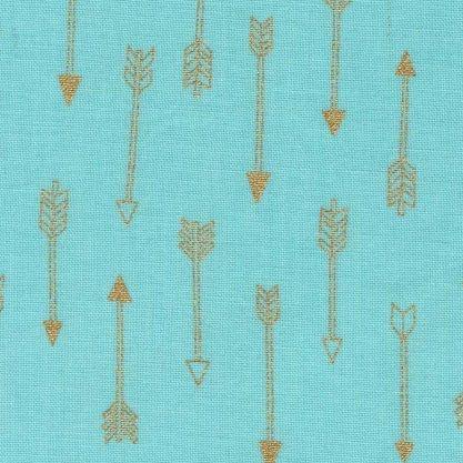 Mini Arrow Flight Mist Catching Dreams Gold Metallic Arrows on Aqua Mint Gr