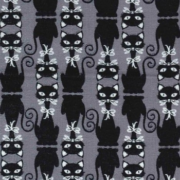 Cat Silhouettes Black Cats & Dogs High Society Kitty Gray Cotton Fabric