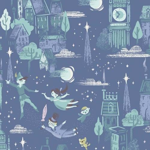 Neverland Main Blue Peter Pan Flying Big Ben London Night Sky Cotton Fabric